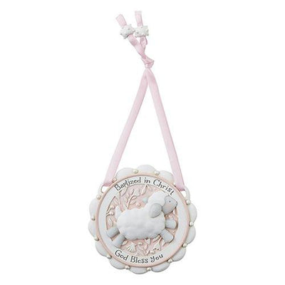 Little Lamb Baptism Crib Medal (Pink) (3 1/2