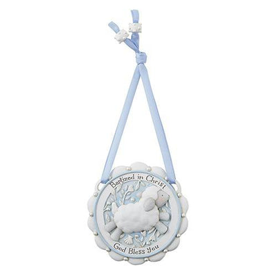Little Lamb Baptism Crib Medal (Blue) (3 1/2