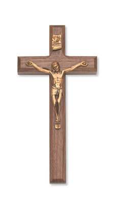 Beveled Walnut Wall Crucifix (8