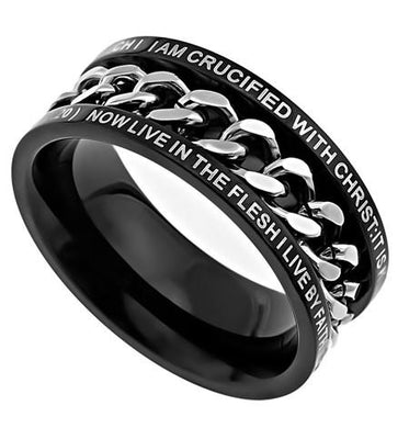 Black Chain Ring Crucified - Unique Catholic Gifts