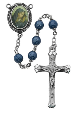 Blue Our Lady of Sorrows Pearl Rosary (7MM) - Unique Catholic Gifts