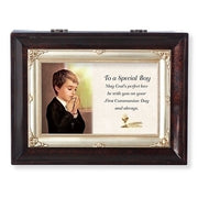 "Brown Wood Musical First Communion Keepsake Box  8 x 6"" Amazing Grace - Unique Catholic Gifts"