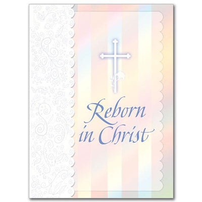 Reborn in Christ Child Baptism Greeting Card