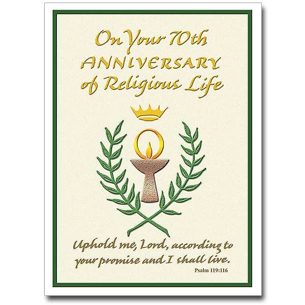"On Your 70th Anniversary of Religious Life Religious Profession Anniversary Card (4.375"" X 5.938"" - Unique Catholic Gifts"