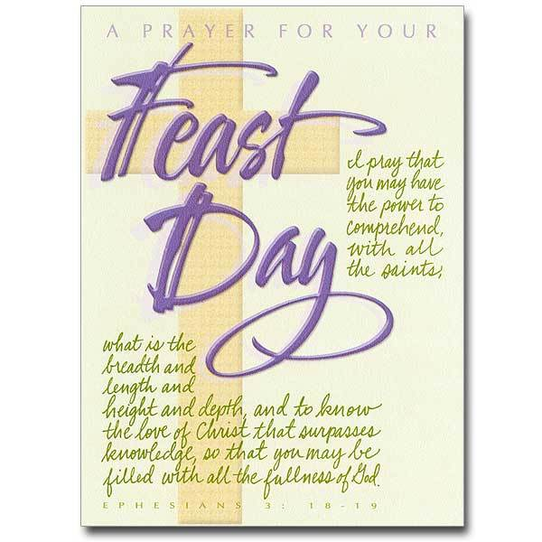A Prayer for Your Feast Day Feast Day Card