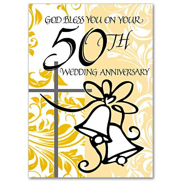 God Bless You on Your 50th Wedding Anniversary 50th Wedding Anniversary Card - Unique Catholic Gifts