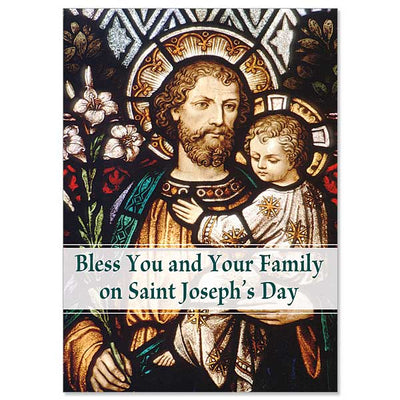 Bless You and Your Family St. Joseph's Day Card - Unique Catholic Gifts