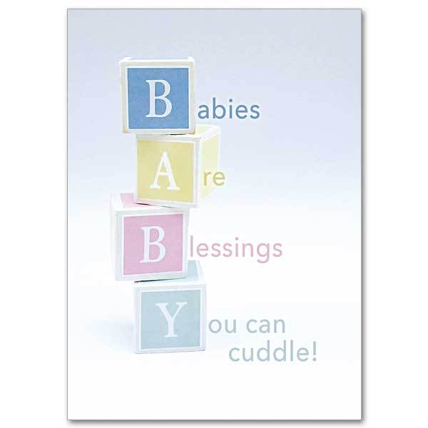 "Babies Are Blessings You Can Cuddle Multiple Birth Baby Congratulations Card (5 x 7"") - Unique Catholic Gifts"