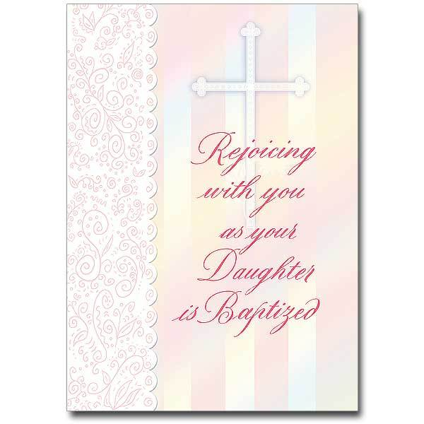 Rejoicing with You as Your Daughter Is Baptized Daughter Baptism Card - Unique Catholic Gifts