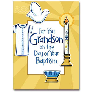 For You Grandson (Baptism) Grandson Baptism Card - Unique Catholic Gifts