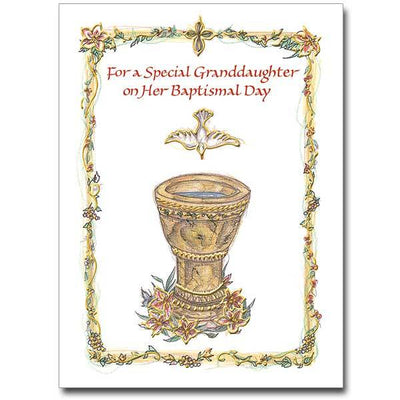 For a Special Granddaughter... Granddaughter Baptism Card - Unique Catholic Gifts