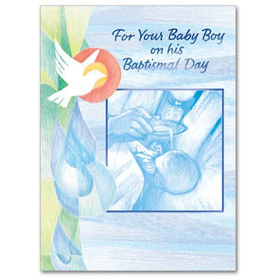 For Your Baby Boy On His Baptismal Day Baptism Card (4.375 x 5.9375