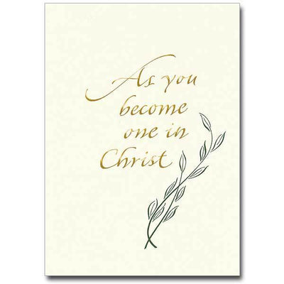 As You Become One in Christ Wedding Congratulations Card (