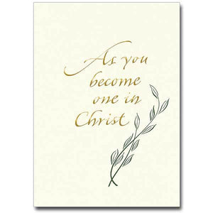 "As You Become One in Christ Wedding Congratulations Card (""5 x 7"")"