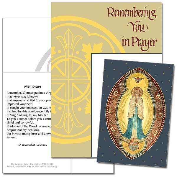 Remembering You in Prayer Immaculate Conception Keepsake Card - Unique Catholic Gifts