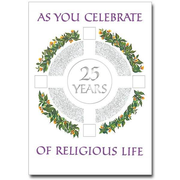As You Celebrate 25 Years of Religious Life Religious Profession Anniversary Card