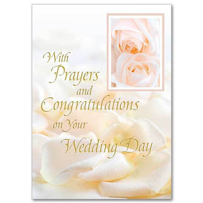 With Prayers and Congratulations on Your Wedding Day Wedding Congratulations Card - Unique Catholic Gifts