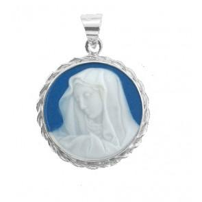 Dark Blue Sterling Silver Our Lady of Sorrows Cameo Medal - Unique Catholic Gifts