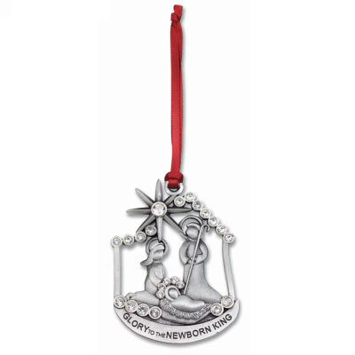Nativity Ornament W/crystals & Red Ribbon Gift - Unique Catholic Gifts