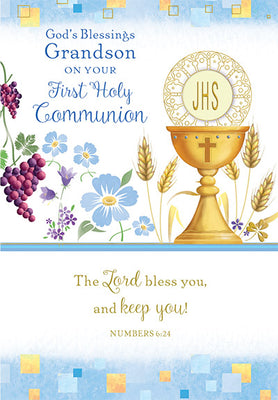 God's Blessings Grandson on Your First Holy Communion Greeting Card - Unique Catholic Gifts