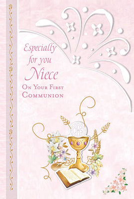 Especially for You Niece on your Holy Communion Greeting Card - Unique Catholic Gifts