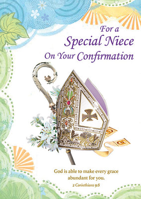For A Special Niece On Your Confirmation Greeting Card - Unique Catholic Gifts
