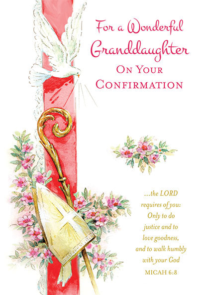 For a Wonderful Granddaughter on your Confirmation Greeting Card - Unique Catholic Gifts