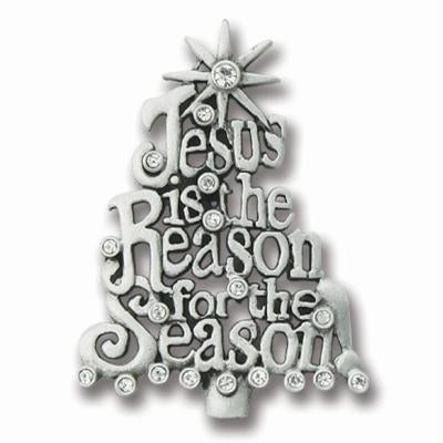 Jesus is the Reason for the Season Crystal Christmas Pave Pin