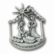 Nativity Crystal Christmas Pave Pewter Pin