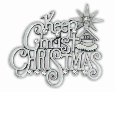 Keep Christ in Christmas Crystal Pewter Pave Pin