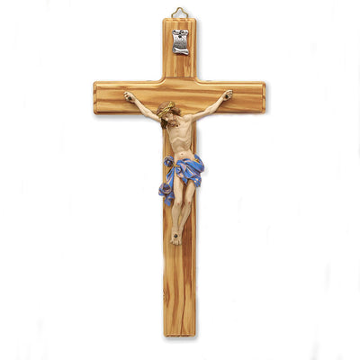 Italian Made Olive- Wood Wall Crucifix (Blue) (12
