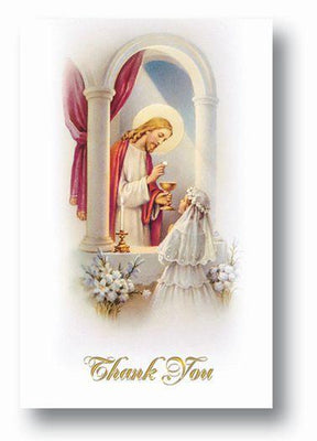 Girl's First Communion Thank You Cards (8 with Envelopes) - Unique Catholic Gifts
