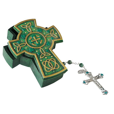 Celtic Cross Rosary and Keepsake Box