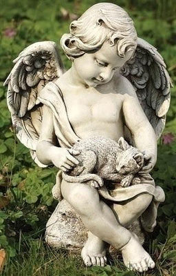 Cherub Angel with a Kitten Indoor/Outdoor Garden Statue (12