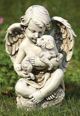 Cherub Angel with a Puppy Indoor/Outdoor Garden Statue (12
