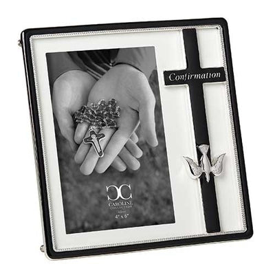 Confirmation Frame Black with Cross and Holy Spirit Dove (7 1/2