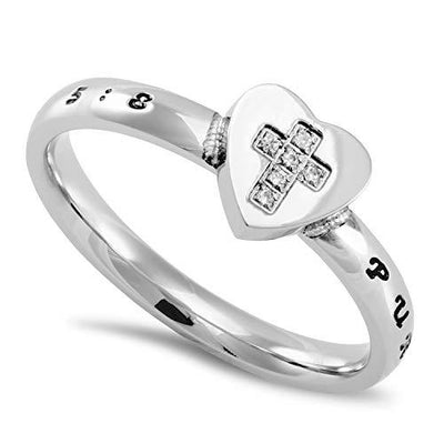 Cross My Heart Cubic Zirconia Purity Ring - Unique Catholic Gifts