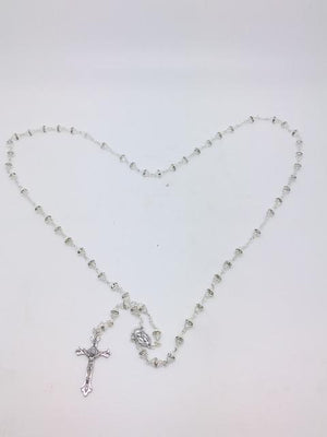 Crystal Rosary with Glass Rondelle Beads - Unique Catholic Gifts