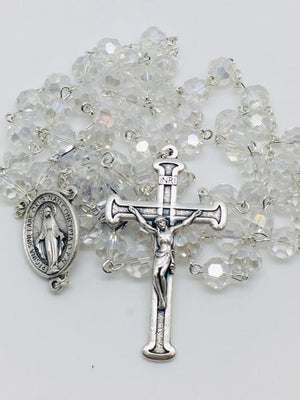 Crystal Gem Cut Miraculous Medal Rosary (8mm) - Unique Catholic Gifts