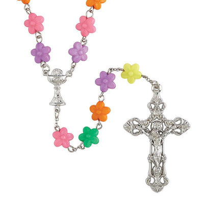First Communion Flower Bead Rosary