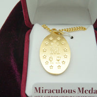 "1"" Gold Miraculous Medal with 20""Chain (J461MI)"