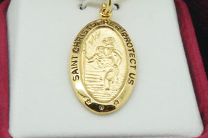 Gold Saint Christopher Medal and Chain - Unique Catholic Gifts