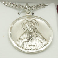 Silver Sacred Heart of Jesus and Virgen Mary in the other side with chain. - Unique Catholic Gifts