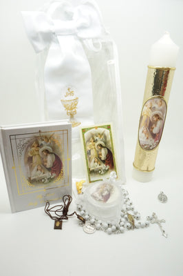 Girls First Communion Gift Set:Arm Band,Golden Candle and 8 other items - Unique Catholic Gifts