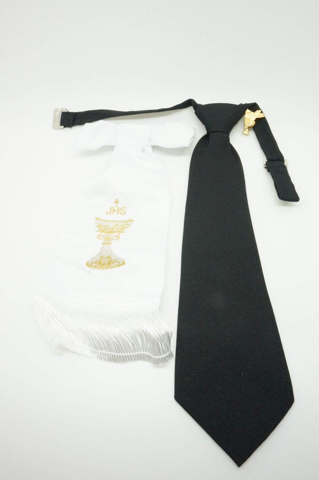 Boy's First Communion Set: White Arm Band, Pin and Black Tie - Unique Catholic Gifts
