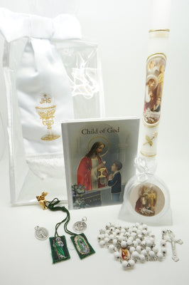 Boys First Communion Gift Set:Arm Band and 7 more items - Unique Catholic Gifts