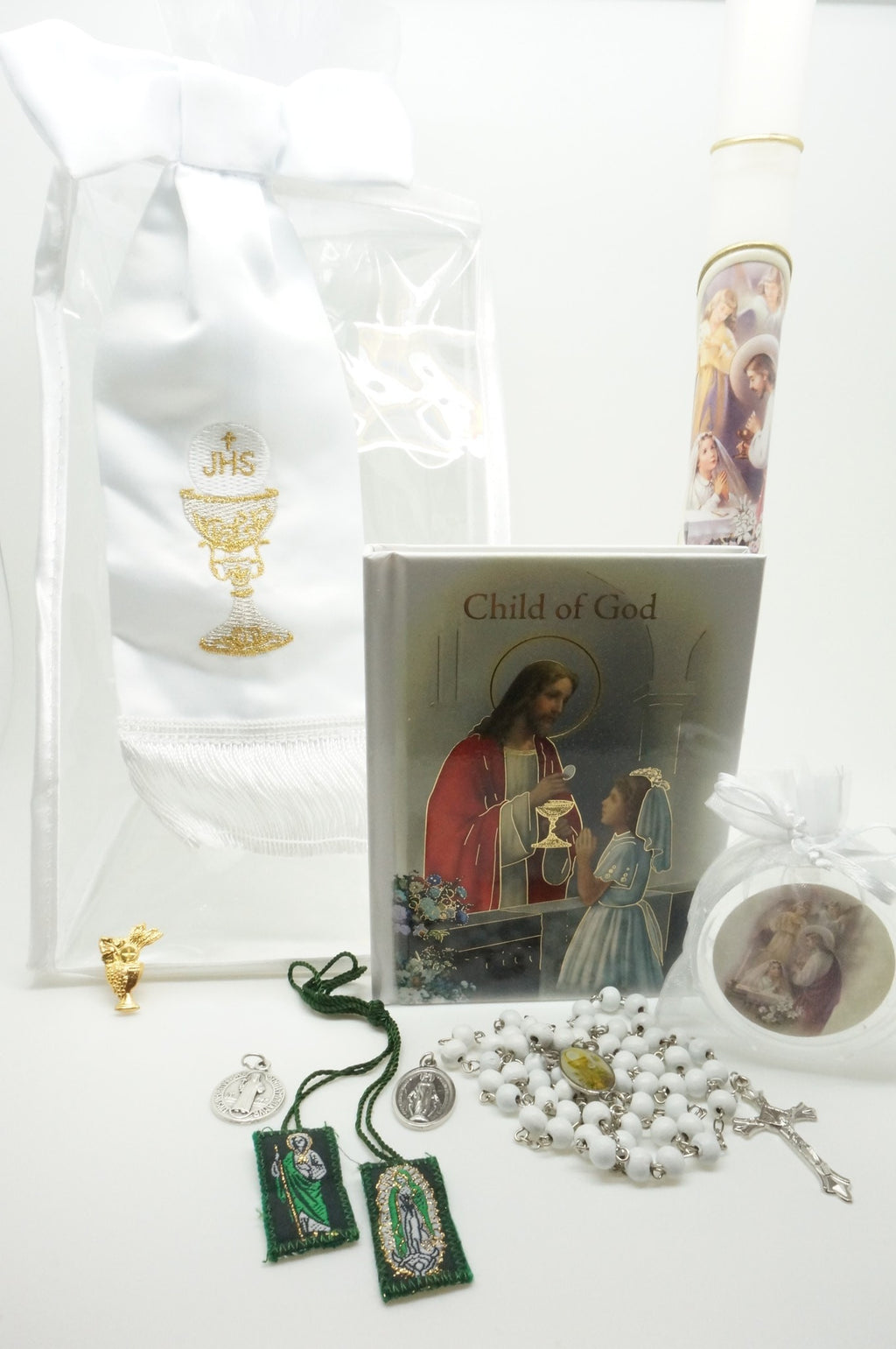 Girls First Communion Gift Set:Arm Band, Candle and 6 other items - Unique Catholic Gifts