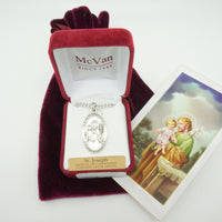"St. Joseph Sterling Silver Medal Set  (1 1/8"") - Unique Catholic Gifts"