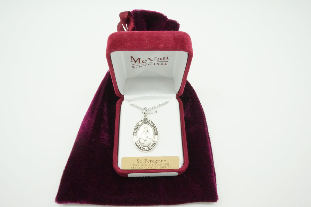 Saint Peregrine Sterling Silver Medal and Chain