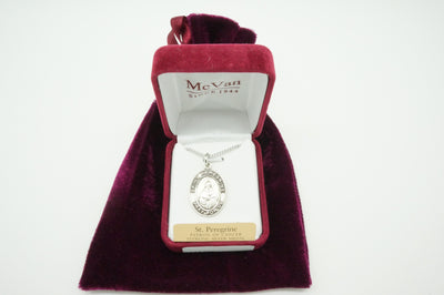Saint Peregrine Sterling Silver Medal and Chain - Unique Catholic Gifts